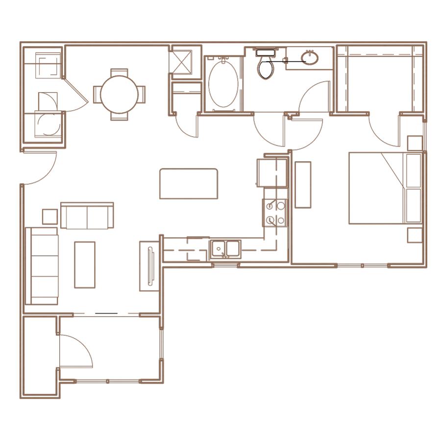 1 Bedroom Retreate II Floorplan Layout at The Village at Apison Pike, 37363
