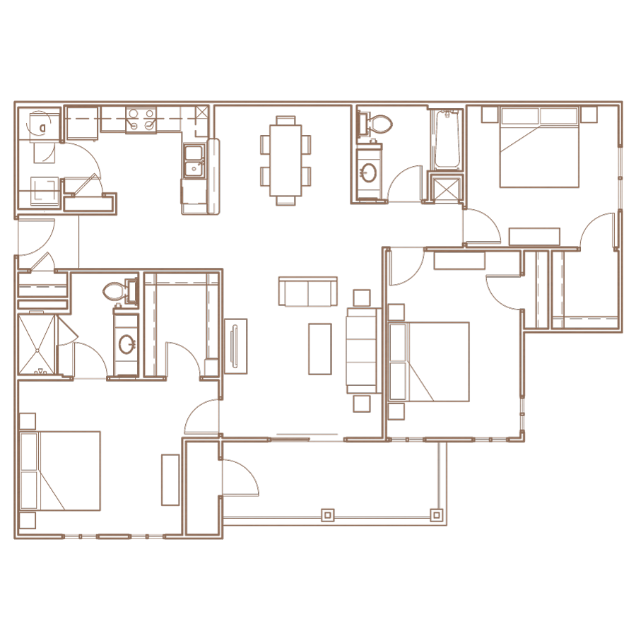 3 Bedroom Floorplan Layout at The Village at Apison Pike, Ooltewah, Tennessee