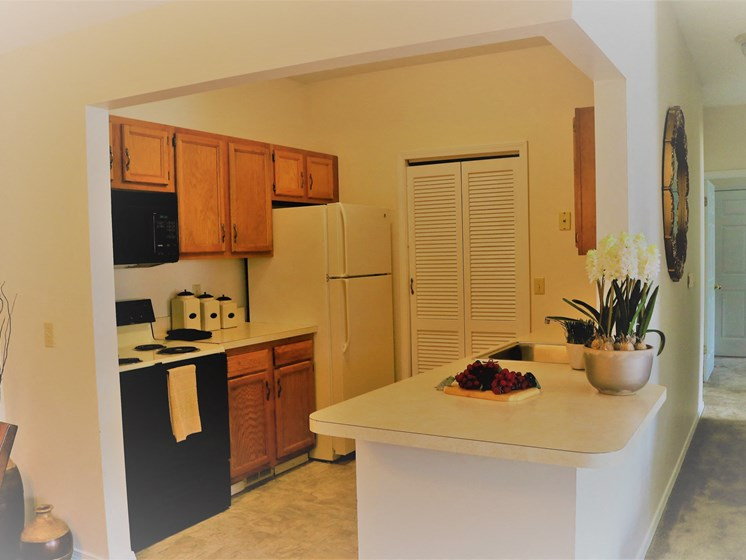 Kitchen with Island at Blueberry Hill Apartments, Rochester, NY