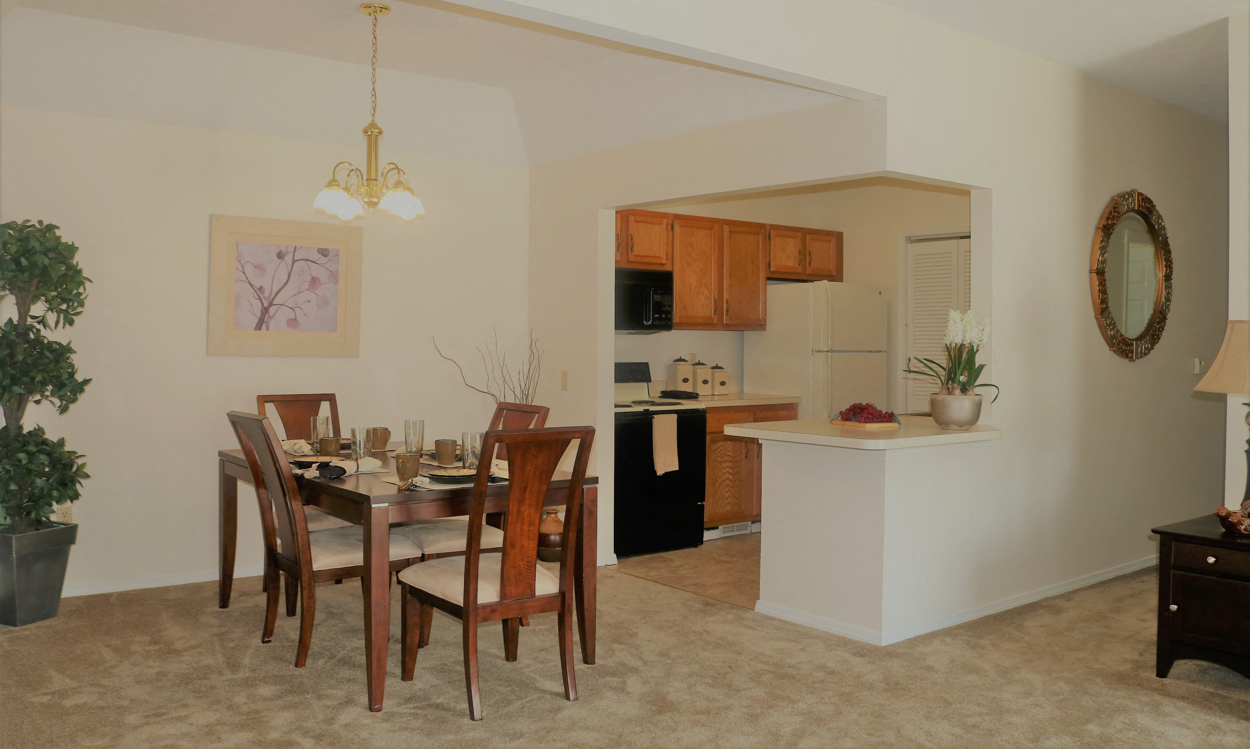 Bright Dining Room and Kitchen at Blueberry Hill Apartments, Rochester, NY