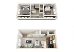 Two Bedroom/One and a 1/2 Bath