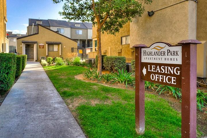 Leasing Center Sign at Highlander Park Apts, Riverside