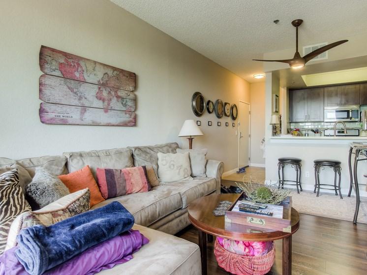Well Lit Living Room at Hollywood Vista, Hollywood, CA, 90046