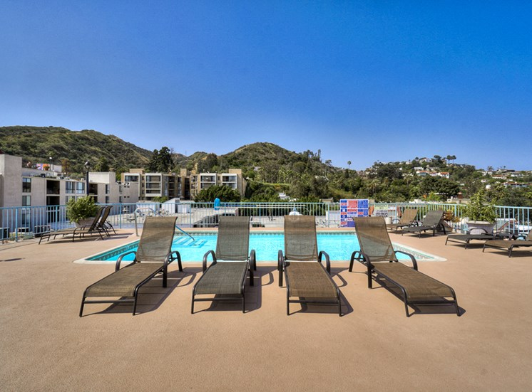 Pool Seating at La Vista Terrace, Hollywood, 90046