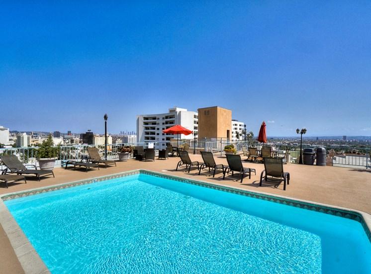 Turquoise Swimming Pool at La Vista Terrace, Hollywood, California
