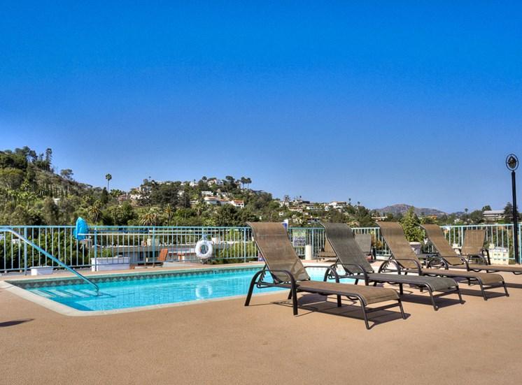 Newly Built Swimming Pool at La Vista Terrace, Hollywood, CA