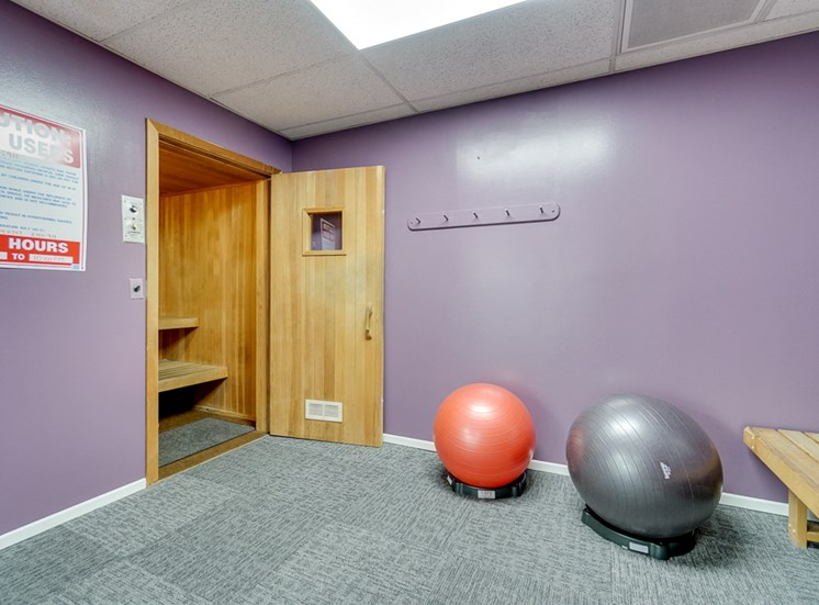 Fitness Center With Yoga/Stretch Area at La Vista Terrace, Hollywood, CA