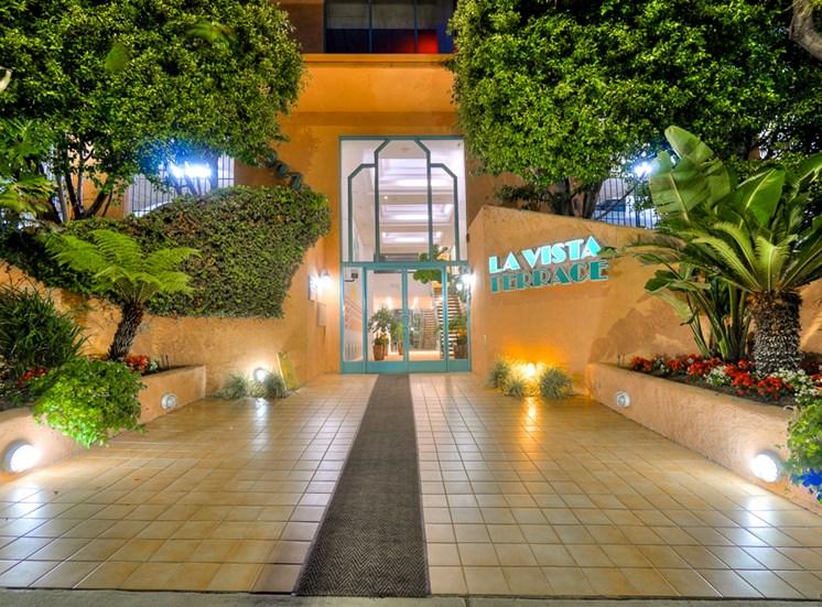Entrance At Night at La Vista Terrace, Hollywood, California