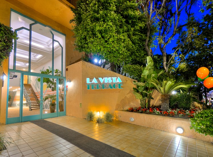 Night Time Decorated Entrance at La Vista Terrace, Hollywood