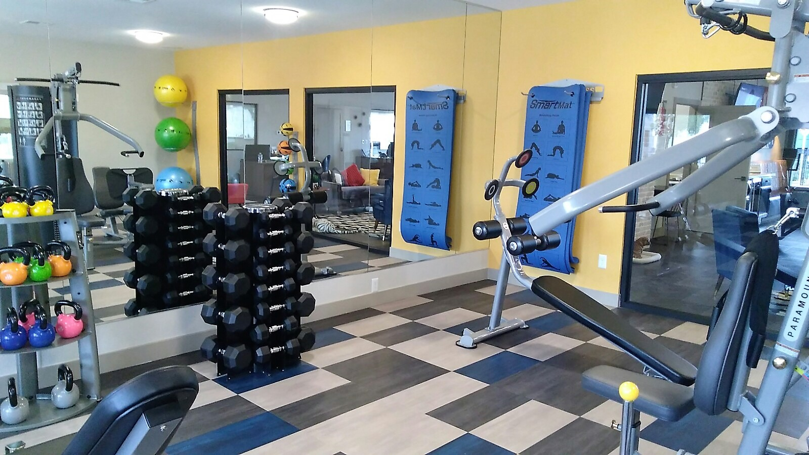 Dumbbells and medicine balls, at Prelude at the Park, 501 East Lake Mead Parkway