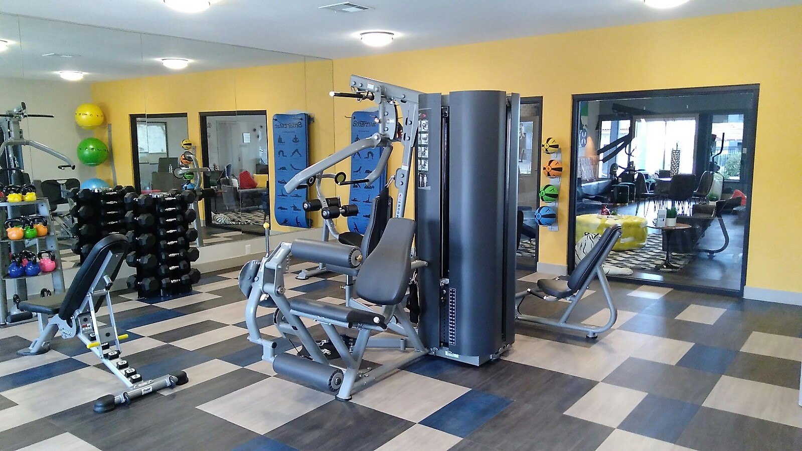 Weight-lifting equipment in fitness center, in Prelude at the Park Apts, NV, 89015