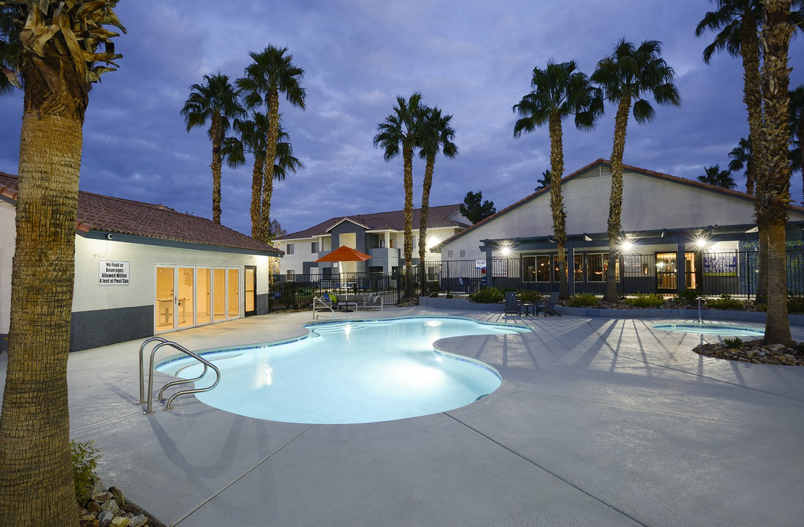 Outdoor Pool at night at Prelude in the Park, Nevada, 89015
