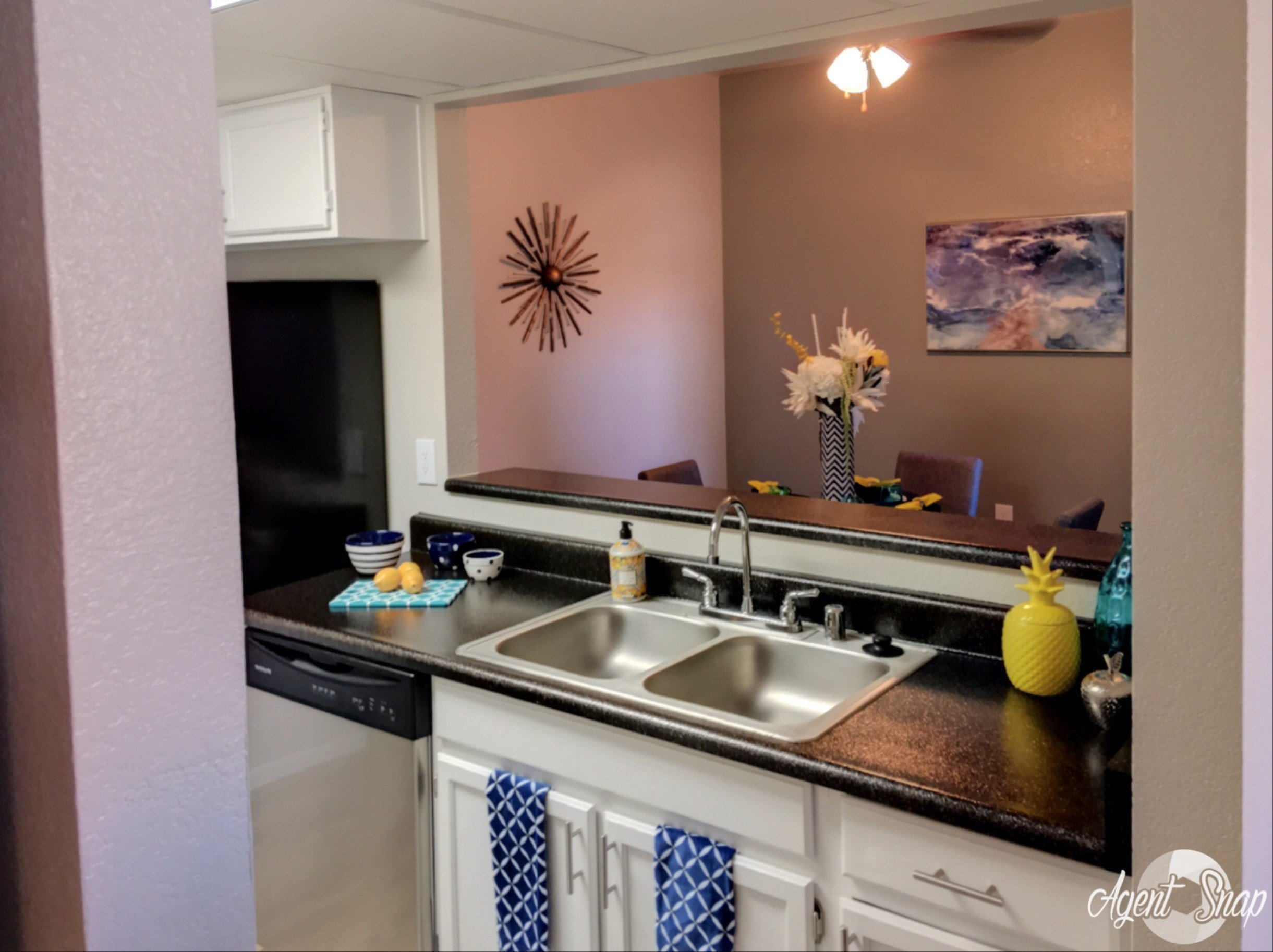 Kitchen with breakfast bar, at Prelude at the Park Apartment Homes, Henderson, Nevada