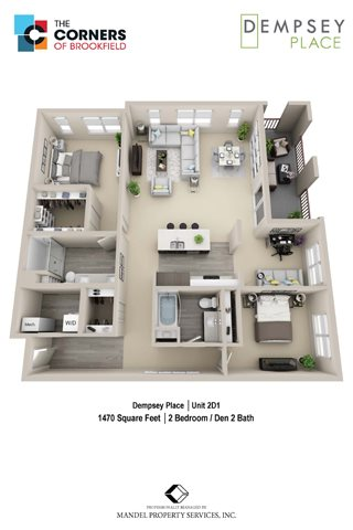 2D1 with Den Floor Plan 31
