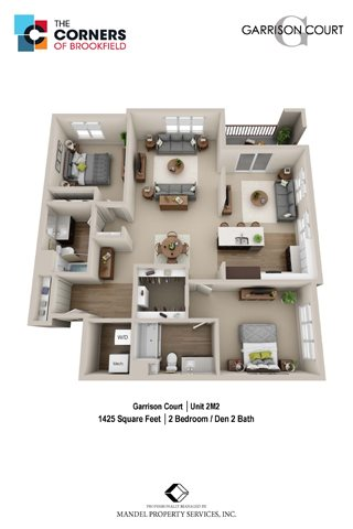 2M2 with Den Floor Plan 32