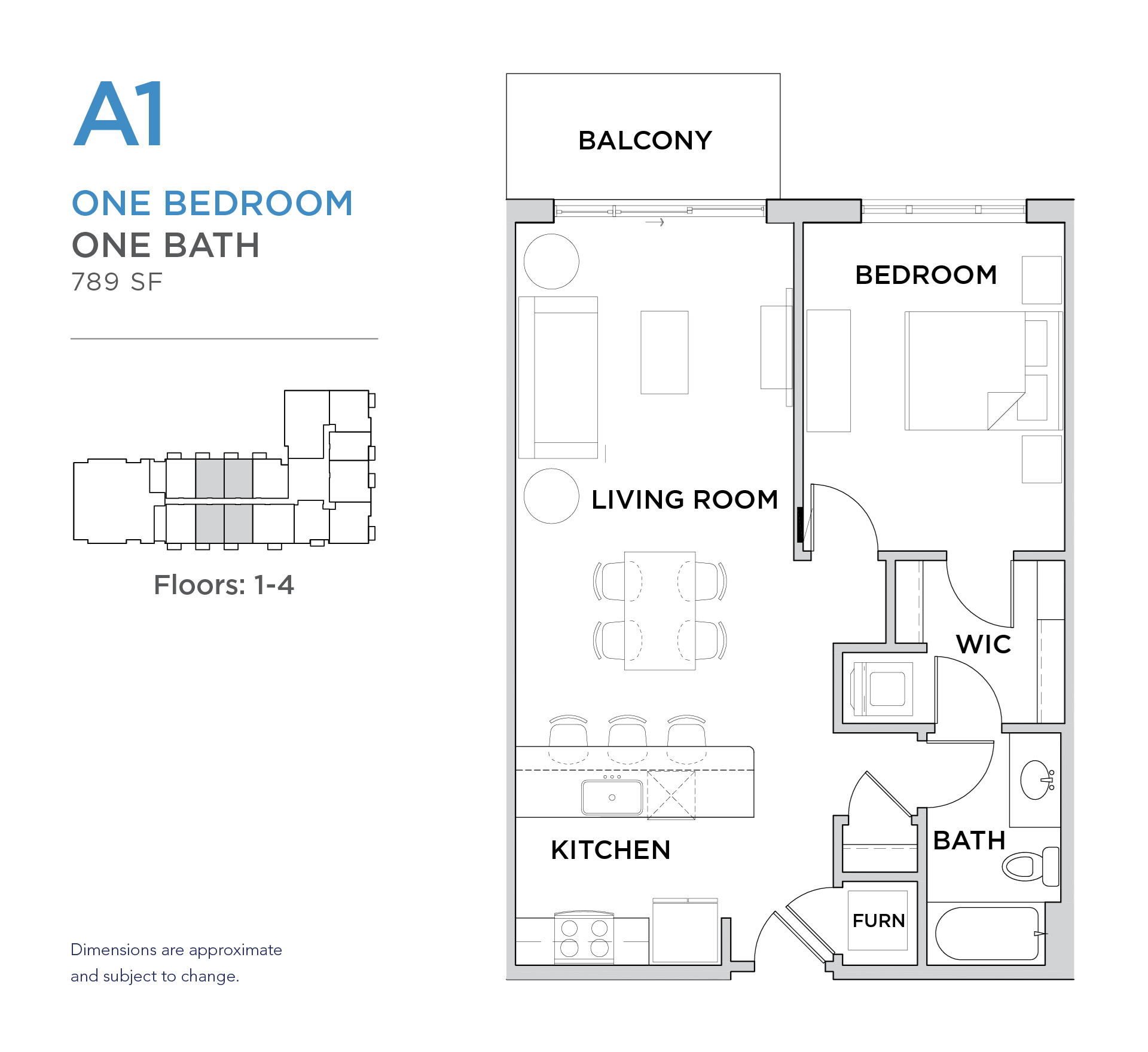 101 West 1 bed 1 bath 789 square foot apartment floor plan