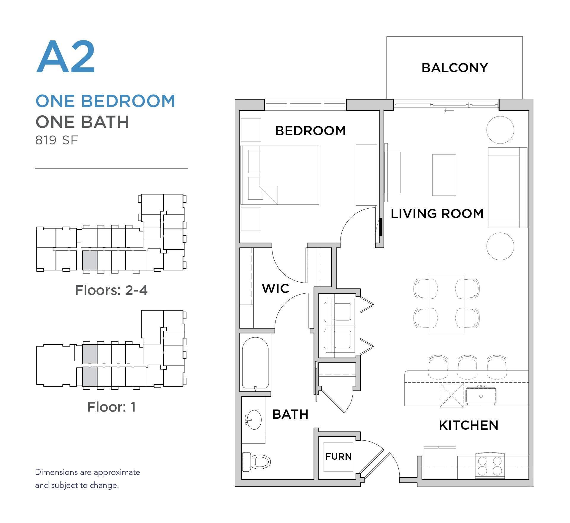 101 West 1 bed 1 bath 819 square foot apartment floor plan