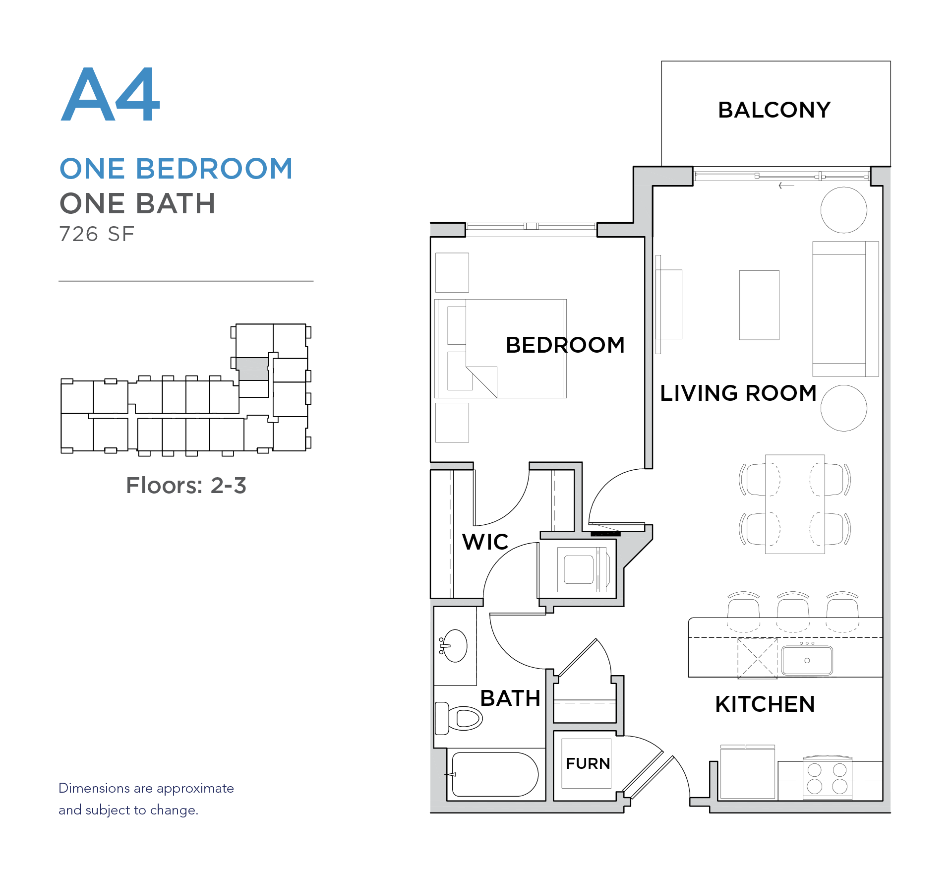 101 West 1 bed 1 bath 726 square foot apartment floor plan