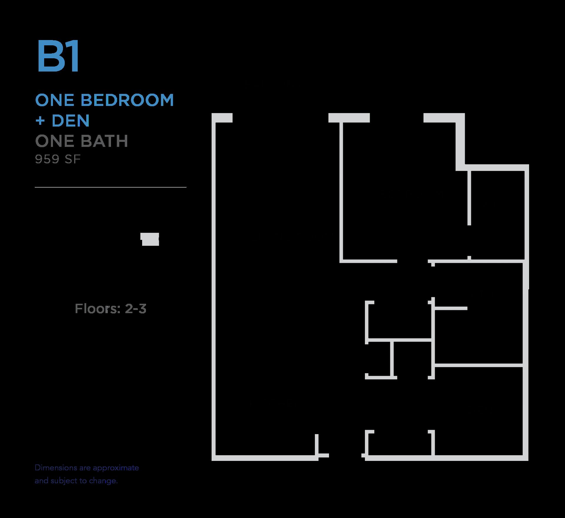 101 West 1 bed 1 bath plus den 959 square foot apartment floor plan