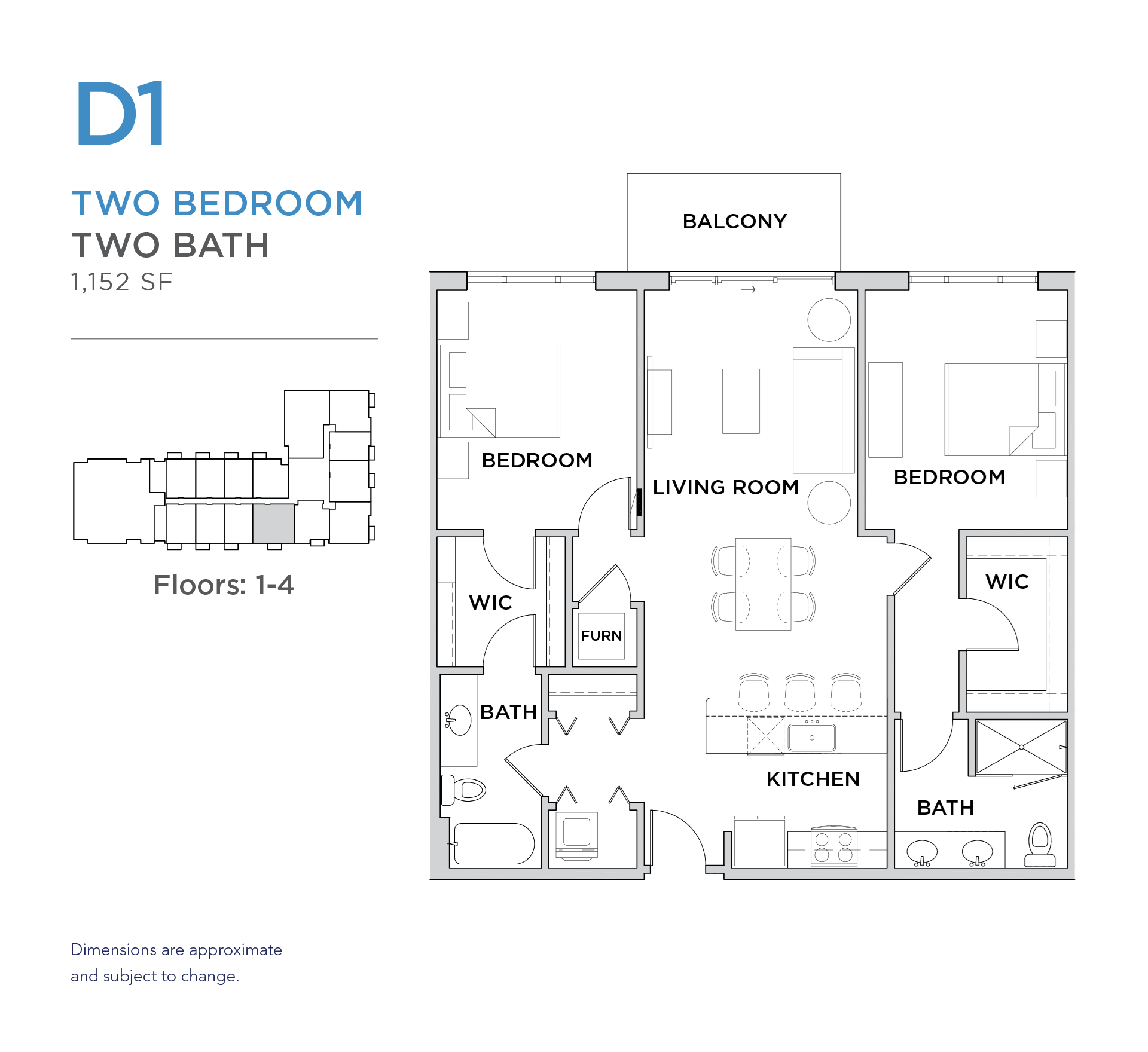 101 West 2 bed 2 bath 1,152 square foot apartment floor plan
