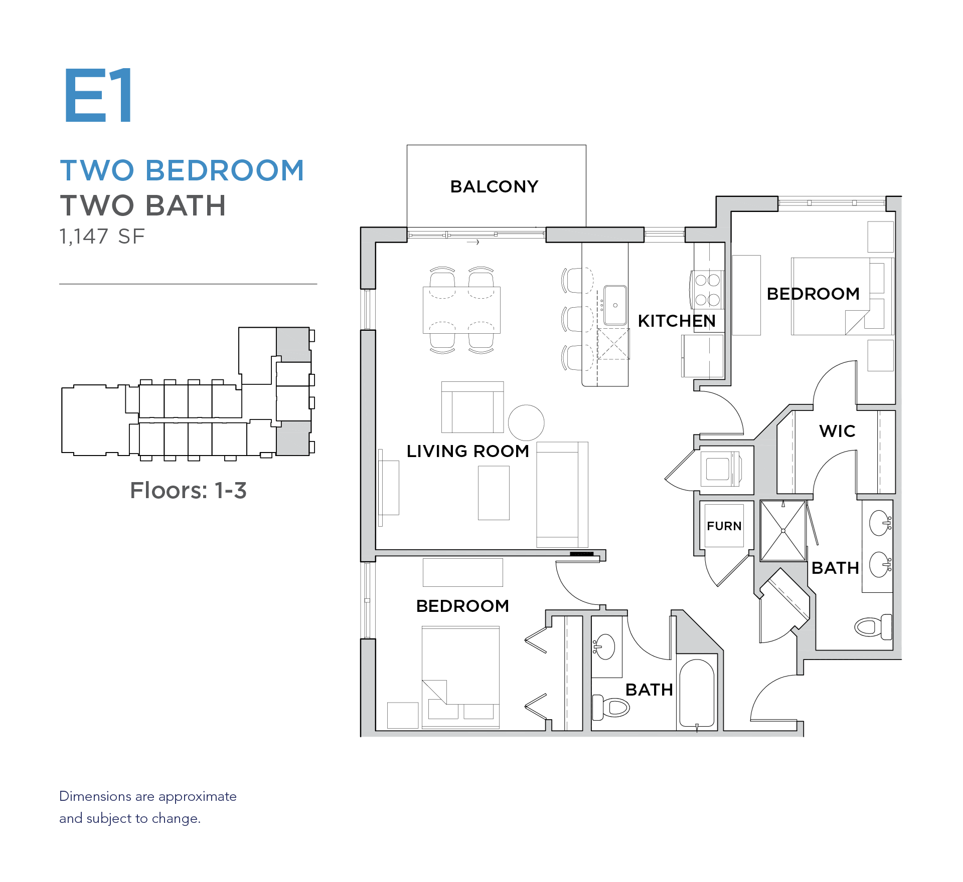 101 West 2 bed 2 bath 1,147 square foot apartment floor plan