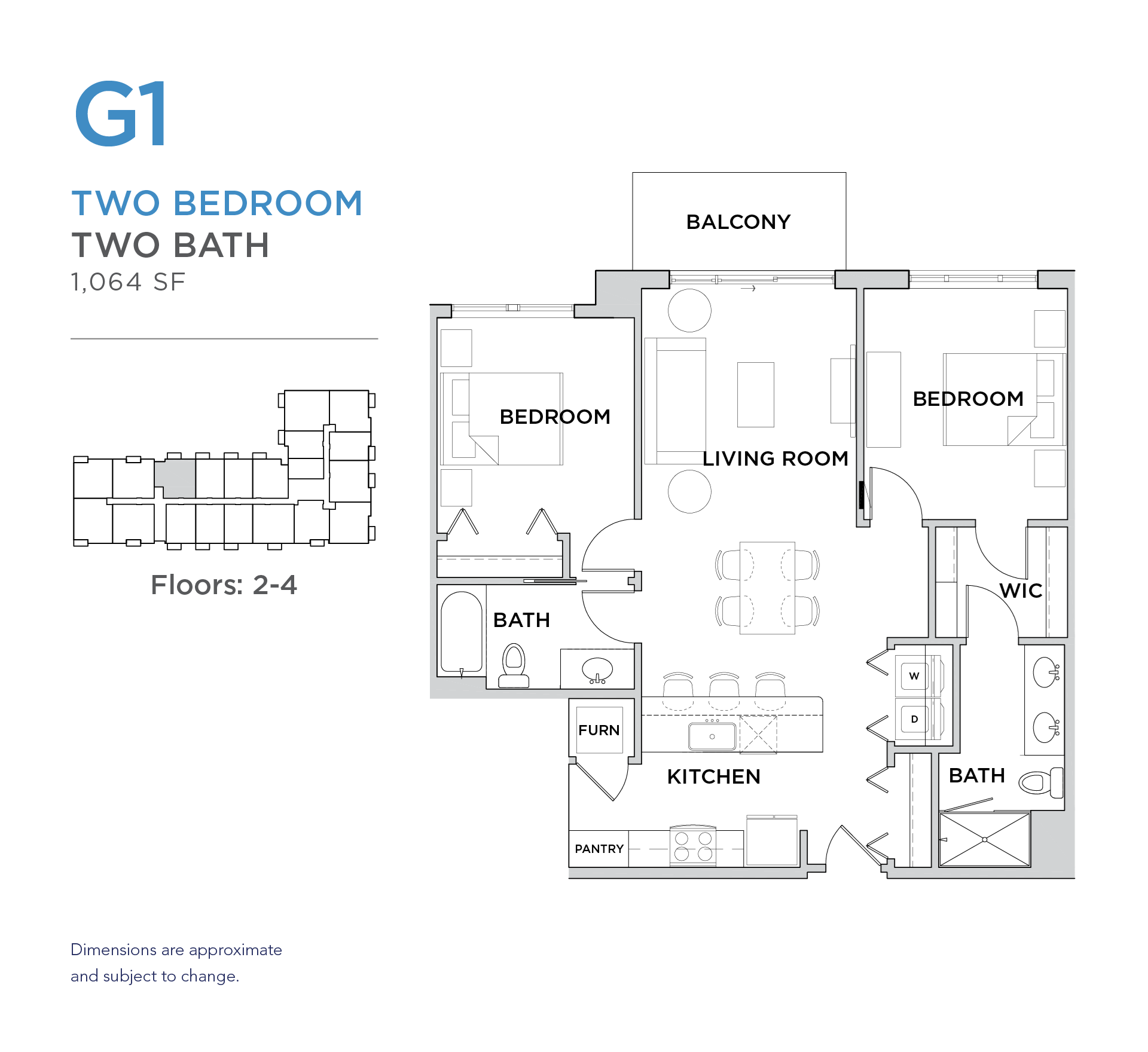 101 West 2 bed 2 bath 1,064 square foot apartment floor plan