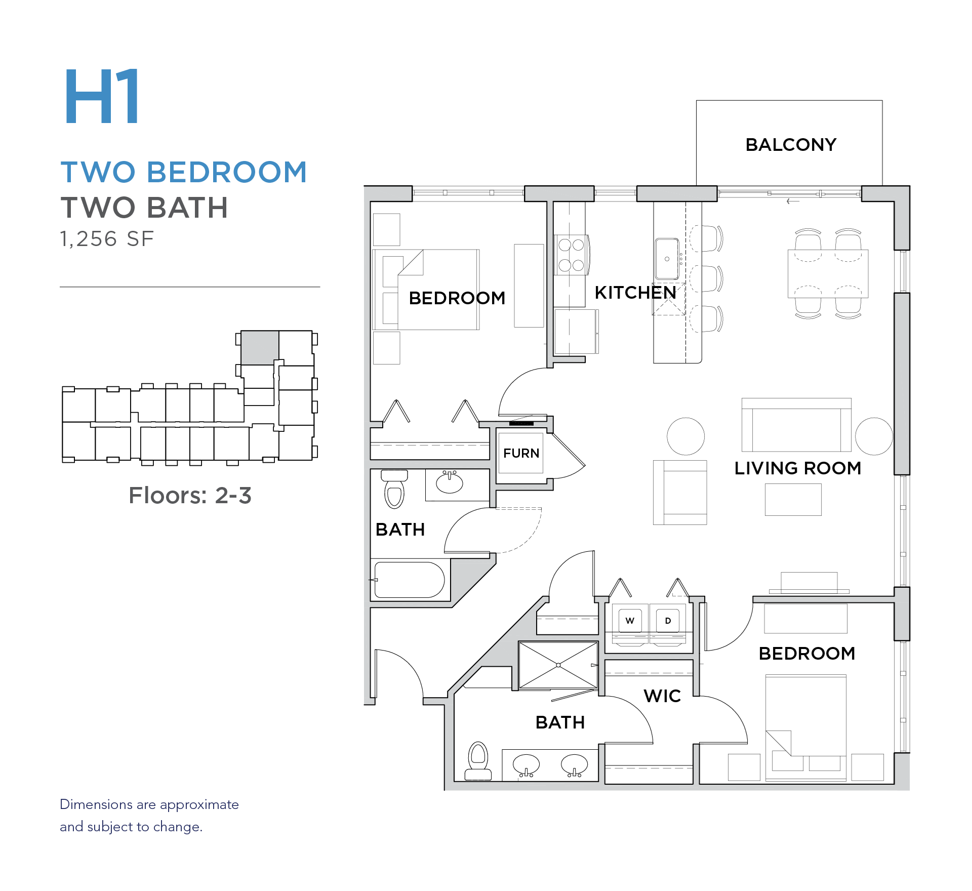 101 West 2 bed 2 bath 1,256 square foot apartment floor plan