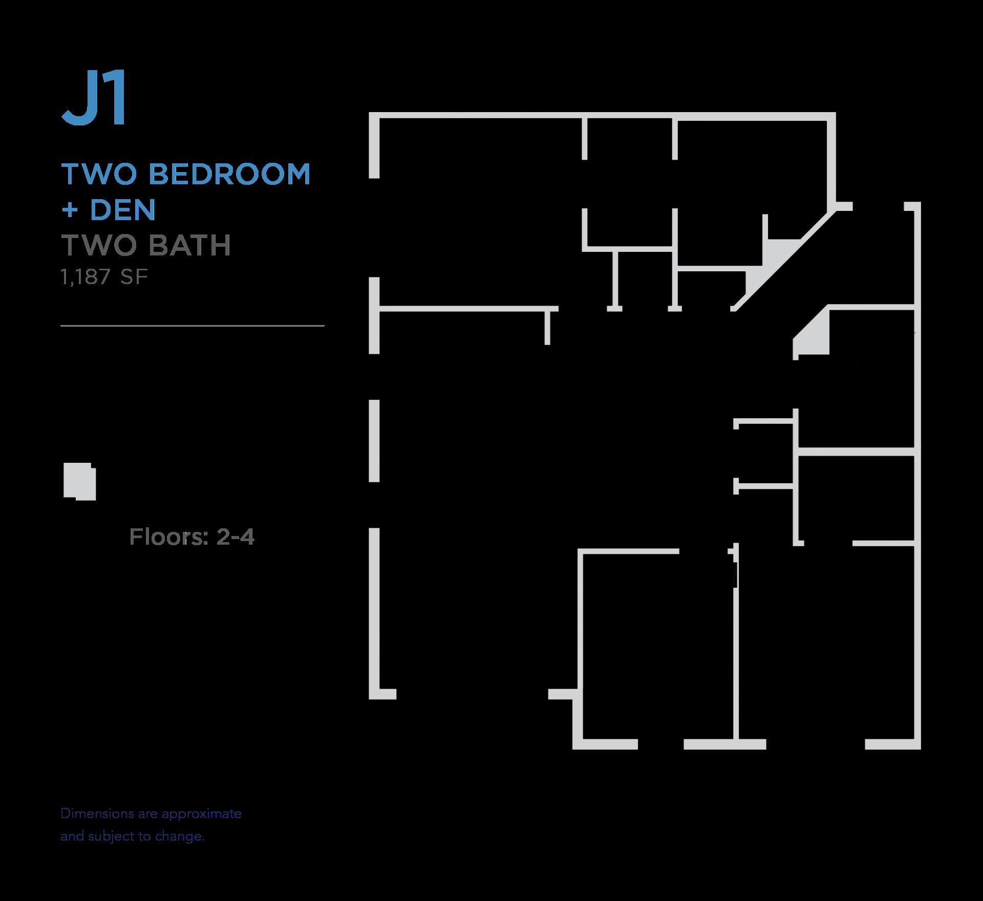 101 West 2 bed 2 bath plus den 1,187 square foot apartment floor plan
