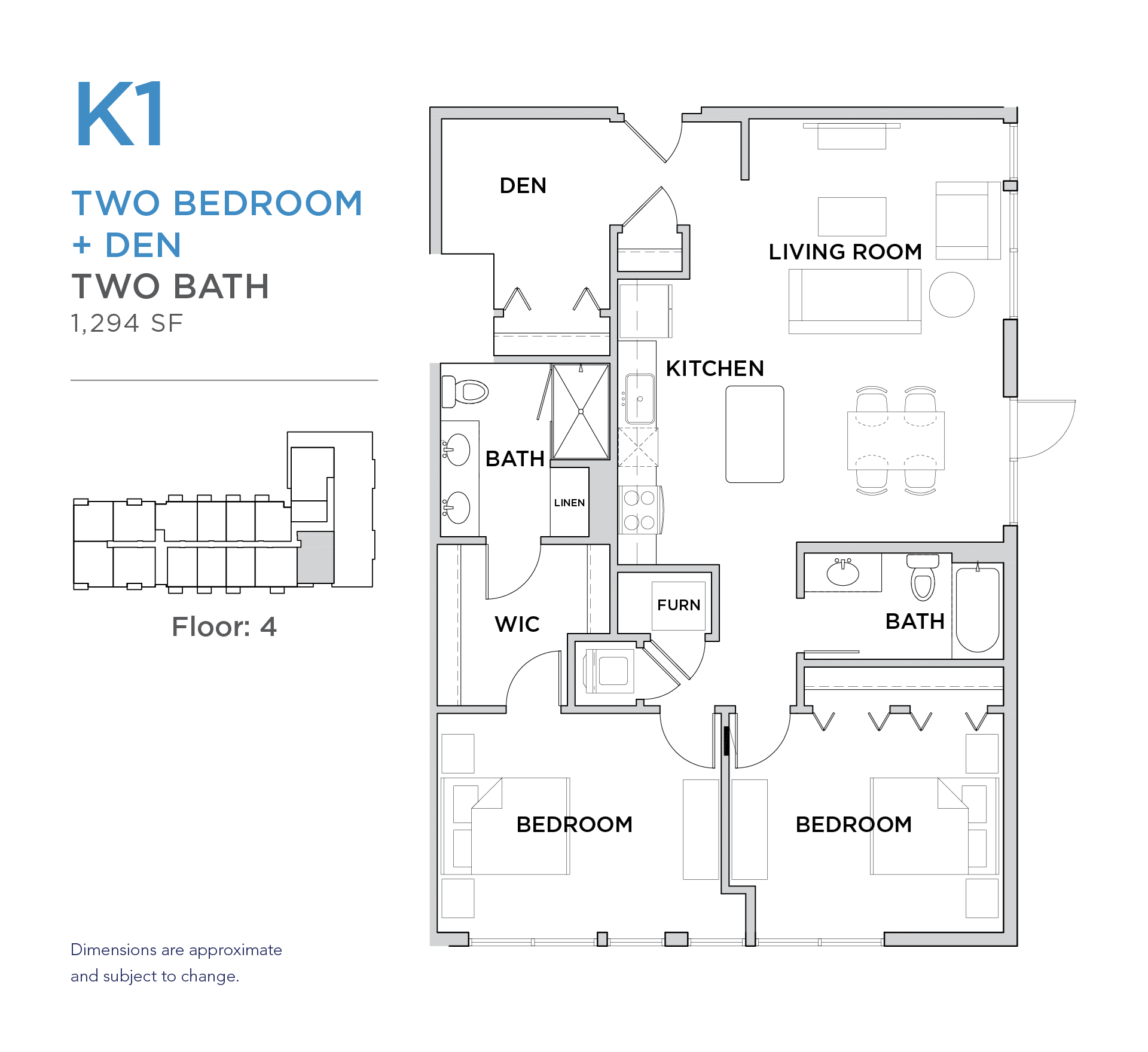 101 West 2 bed 2 bath plus den 1,294 square foot apartment floor plan