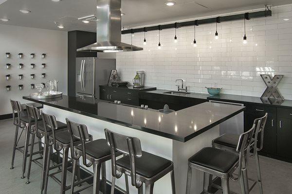 Community bar area at Cycle Apartments, Colorado, 80525