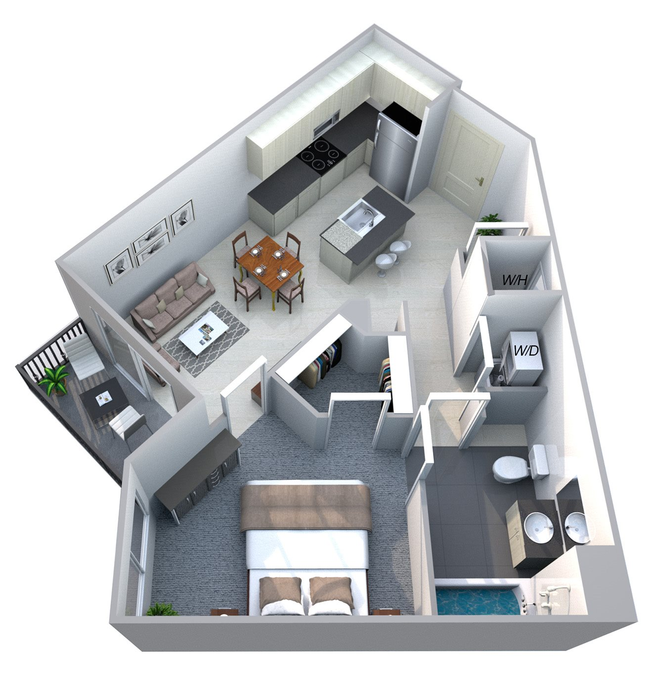 Harmony - One Bdrm Floor Plan at Cycle Apartments, Ft. Collins, CO