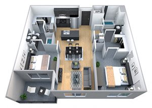 Harvard - Two Bdrm Floor Plan at Cycle Apartments, Ft. Collins