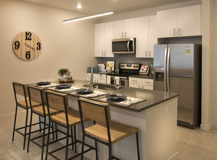 Spacious Kitchens with Islands and Stainless Steel Appliances at Cycle Apartments, Ft. Collins Colorado 80525