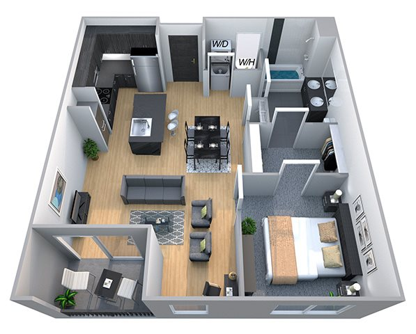 Lincoln - One Bdrm Floor Plan at Cycle Apartments, Ft. Collins, CO 80525