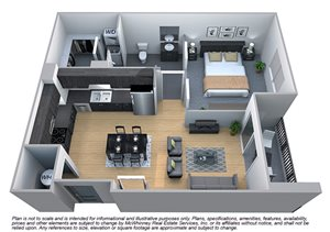 Linden Floor plan at Cycle Apartments, Ft. Collins, CO 80525