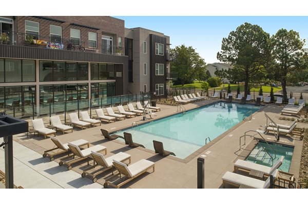 Pool Side Relaxing Area at Cycle Apartments, Ft. Collins