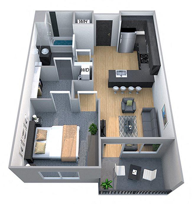 Remington - One Bdrm Floor Plan at Cycle Apartments, Colorado