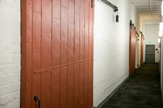 Red doors and in Fix Play Lofts in Birmingham Alabama 35203