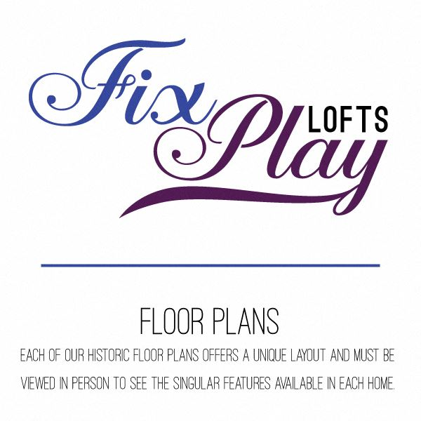 Fix Play Lofts logo with floor plans text