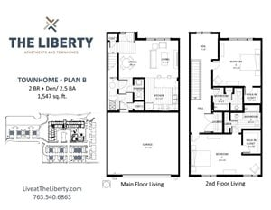 Floor plan at The Liberty Apartments & Townhomes, Golden Valley, Minnesota