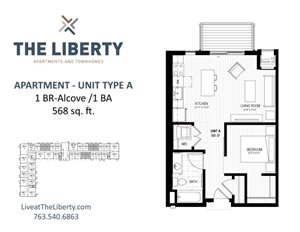 Floor plan at The Liberty Apartments & Townhomes, Golden Valley, MN 55427