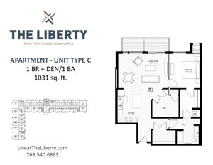Floor plan at The Liberty Apartments & Townhomes, Minnesota, 55427