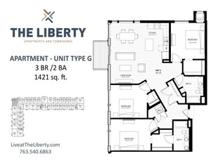 Floor plan at The Liberty Apartments & Townhomes, Minnesota