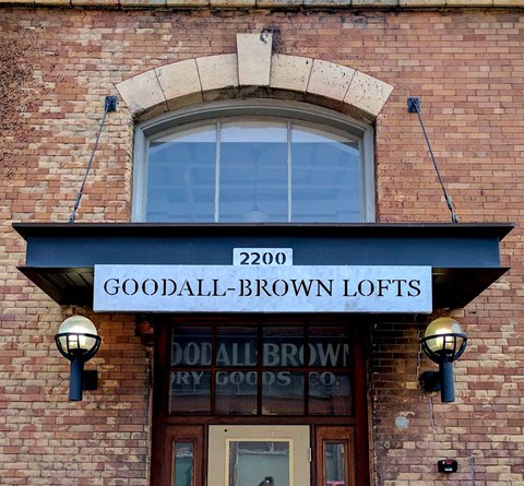 Goodall-Brown Lofts in Birmingham Alabama new sign controlled access