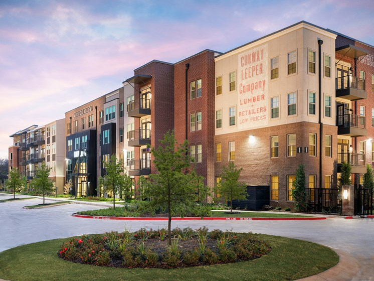 Beautiful Landscaping and Park-like Setting at Main Street Lofts, Mansfield Texas