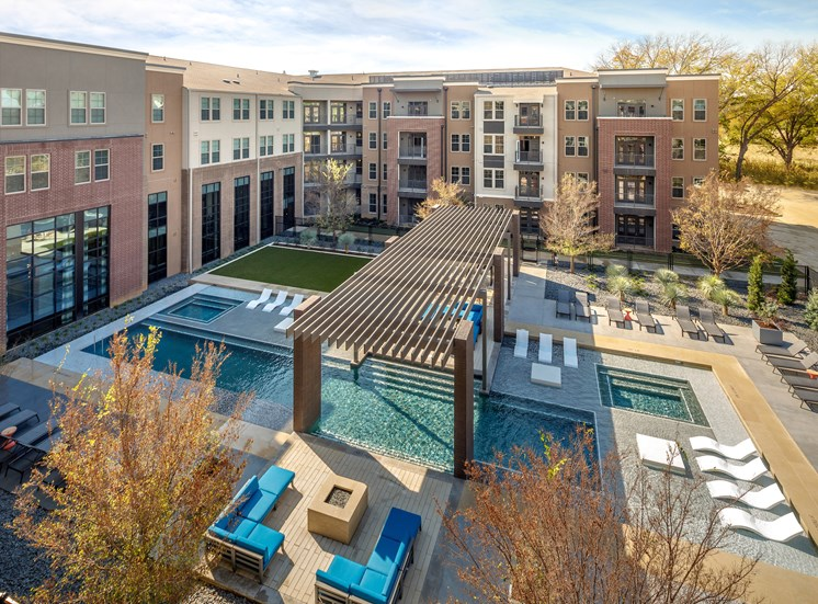 Resort Inspired Pool Featuring Cabana and Wet Deck with Bubblers at Main Street Lofts, Mansfield, TX 76063