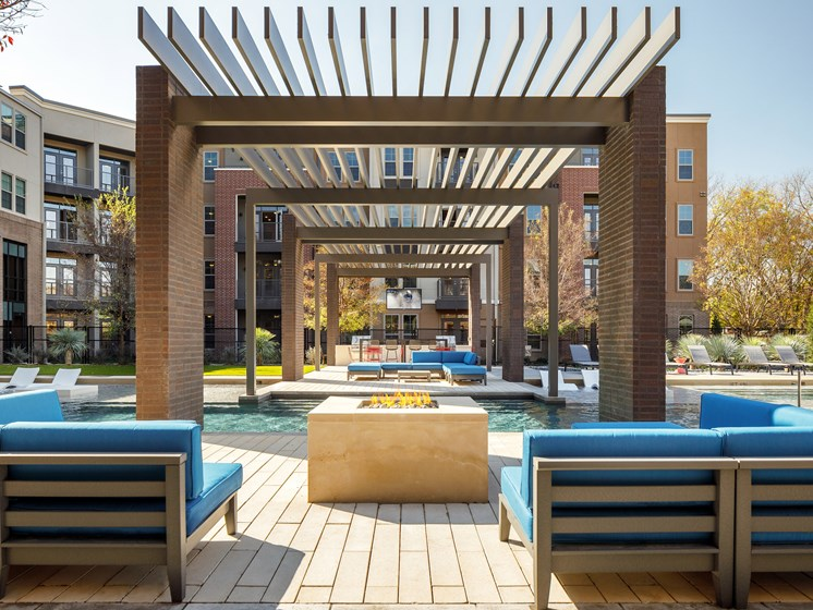 Outdoor Lounge with Relaxing Fire Pit at Main Street Lofts, Mansfield, TX