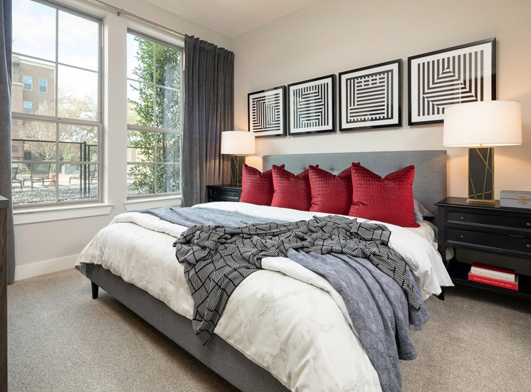 Tan Carpet in Bedroom at Main Street Lofts, Mansfield, TX