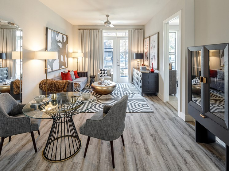 Separate Spaces for Dining at Main Street Lofts, Mansfield Texas