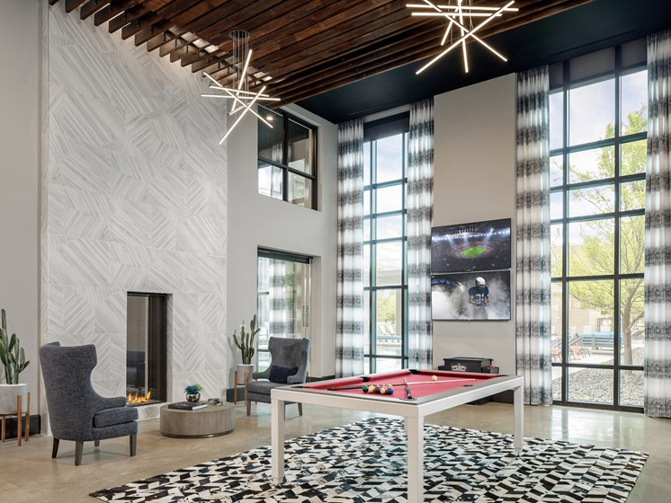 Game Room with Billiards at Main Street Lofts, Mansfield, 76063